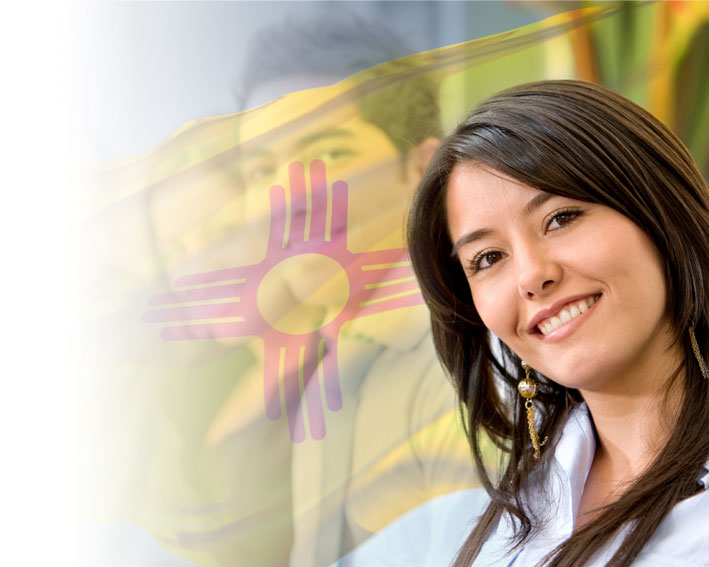 Woman and New mexico flag